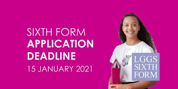 Sixth Form Application Deadline - 15th January 2021