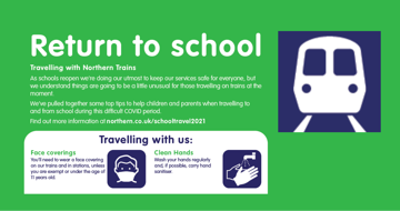 Northern Rail Educational Discount which offers 40% off the price of a child season ticket, to ensure a safe, cost effective journey by train.